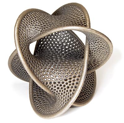 A complex 3D printed artefact designed by Bathsheba Grossman
