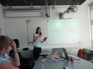 Laura providing the talk at the 'EUD for Supporting Sustainability in Maker Communities' workshop